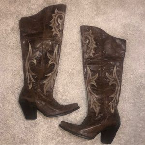 Dan Post Jilted Knee High Western Boots size 10